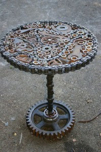Upcycled old car parts make for a brilliant table.