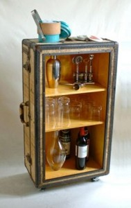 Upcycled vintage suitcase bar