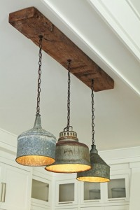 Upcycled old oil cans to create this light feature.
