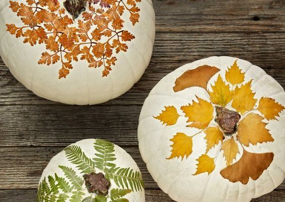 Autumn leaves pumpkin decor