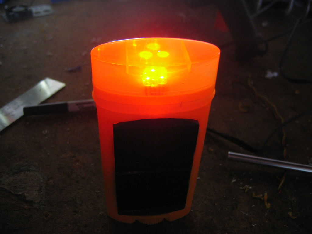Upcycled Solar-powered Deodorant Bike Light
