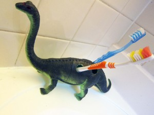 Dino toothbrush holder
