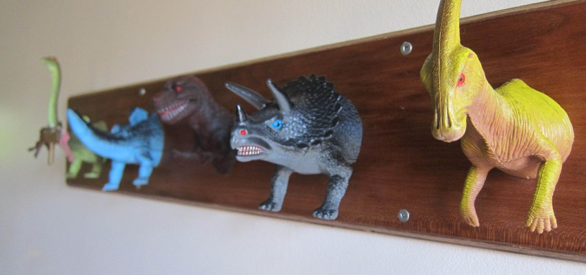 upcycled Dinosaur coat rack