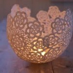 Upcycled doilie candle holder