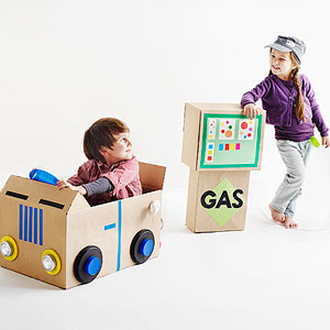 recycled cardboard box gas station