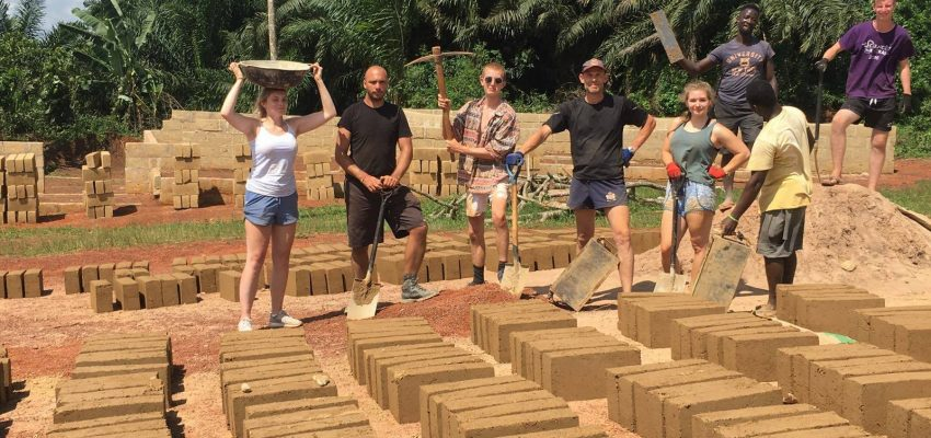 Ghana Group Baking Bricks in  Sun