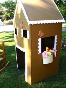 recycled cardboard box gingerbread house