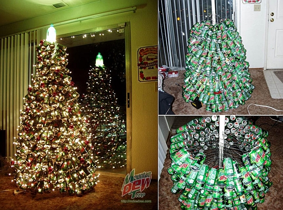 Recycled soda can Christmas tree - 31 DIY Christmas Trees Made From Recycled Materials