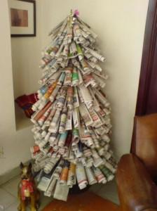 Recycled newspaper Christmas tree