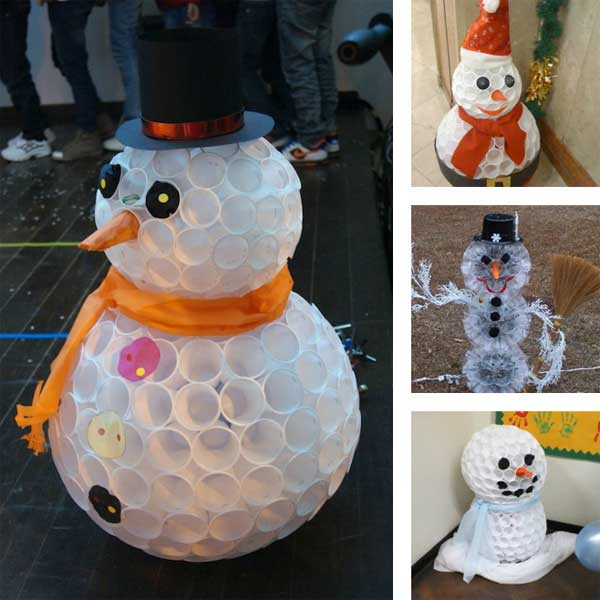 20 diy christmas decorations made from recycled materials for Plastic cup snowman
