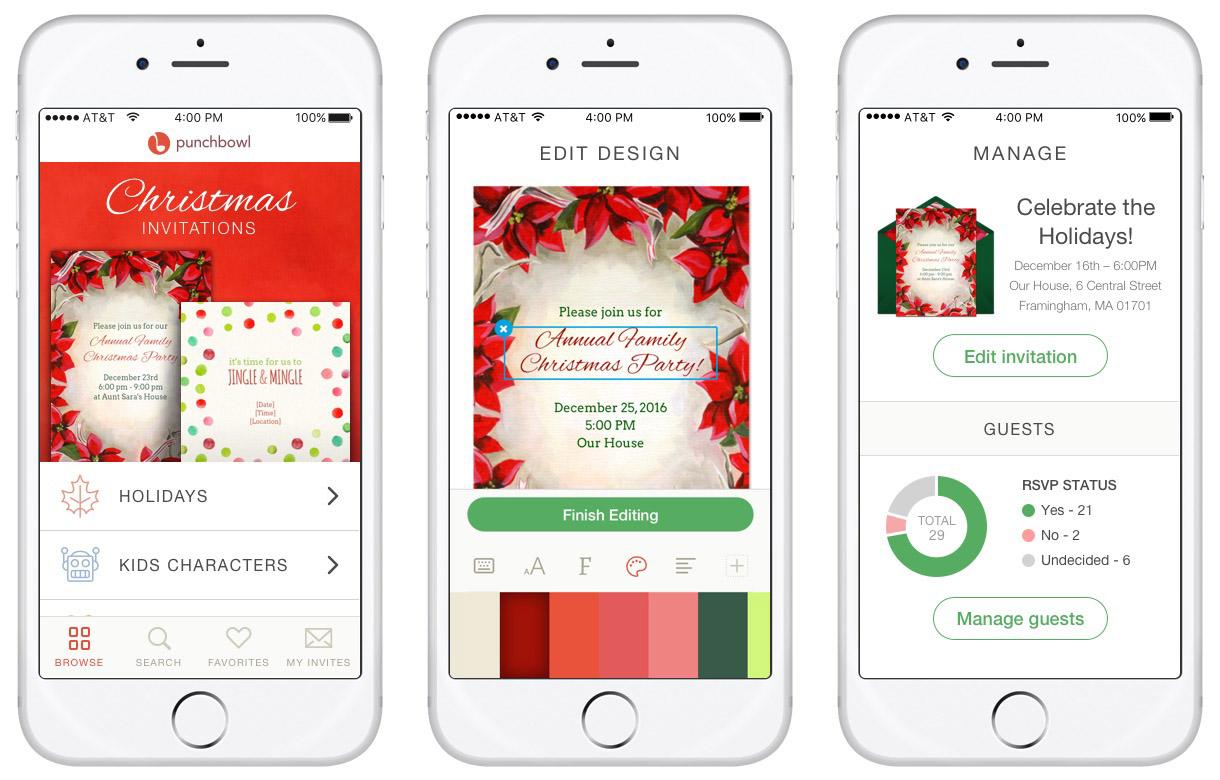 Punchbowl iOS App Screenshots