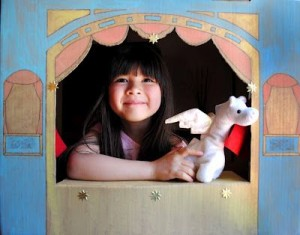 recycled box puppet theater
