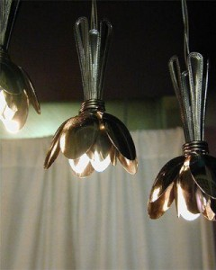 Upcycled spoon lampshade