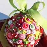 Upcycled button ball ornament
