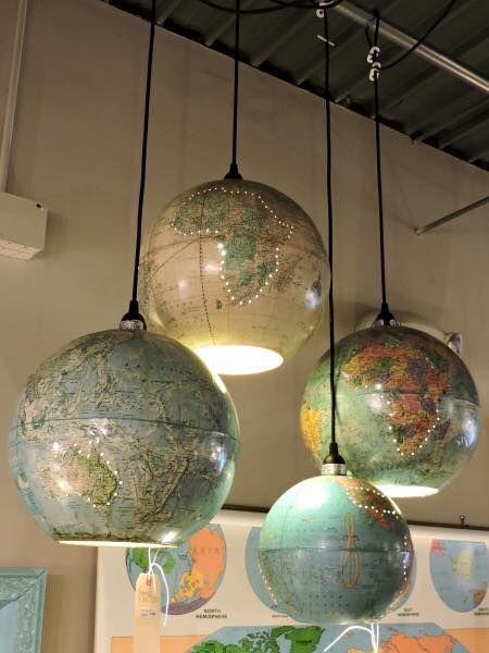Upcycled globe lamps