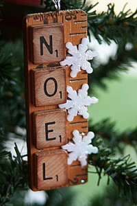 Upcycled scrabble ornament