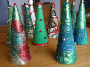 Upcycled wool cone trees