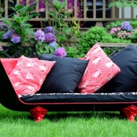 Upcycled bathtub couch