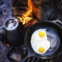 coffee and eggs on fire