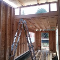 Interior shot of greenmoxie tiny house framing