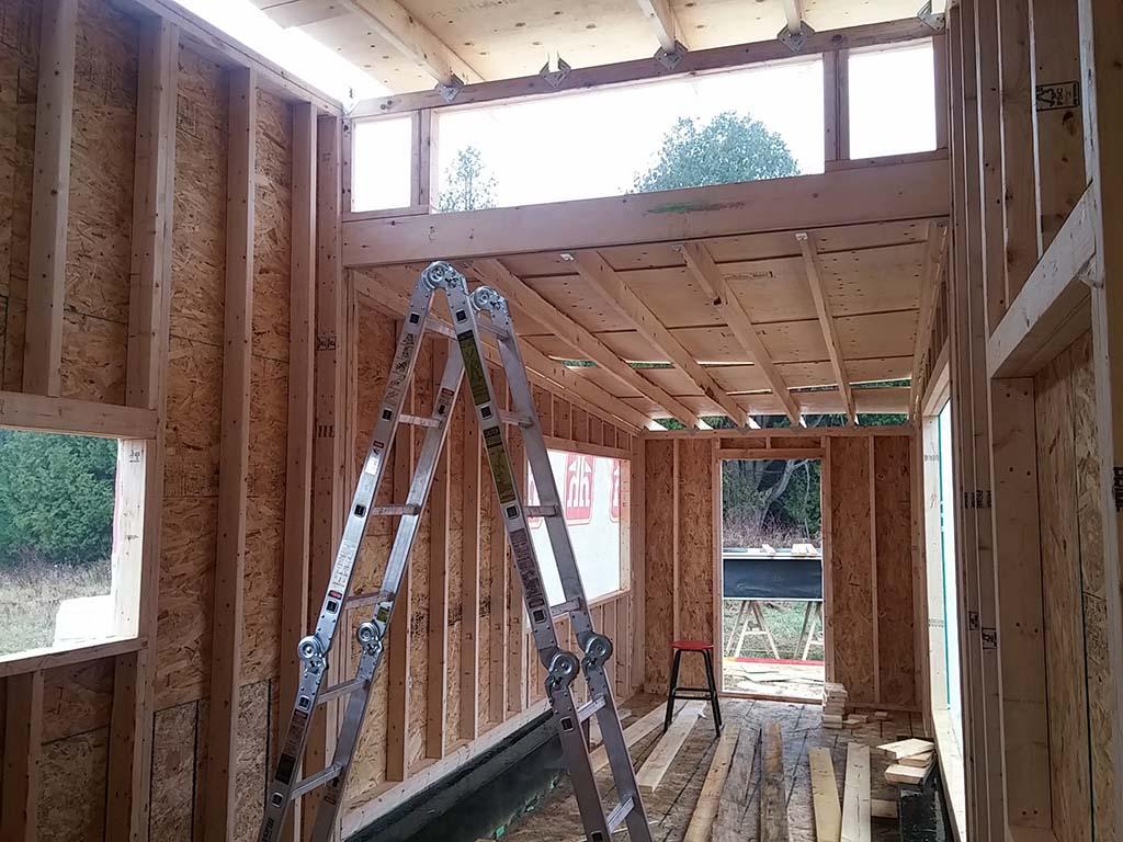 interior shot of greenmoxie tiny house framing - Tiny House Framing
