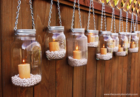 Green home: Hanging Mason Jar Luminary Lanterns