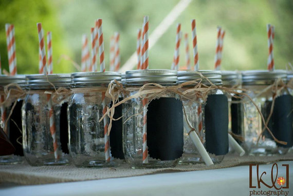 Green home: Blackboard Mason Jar glasses