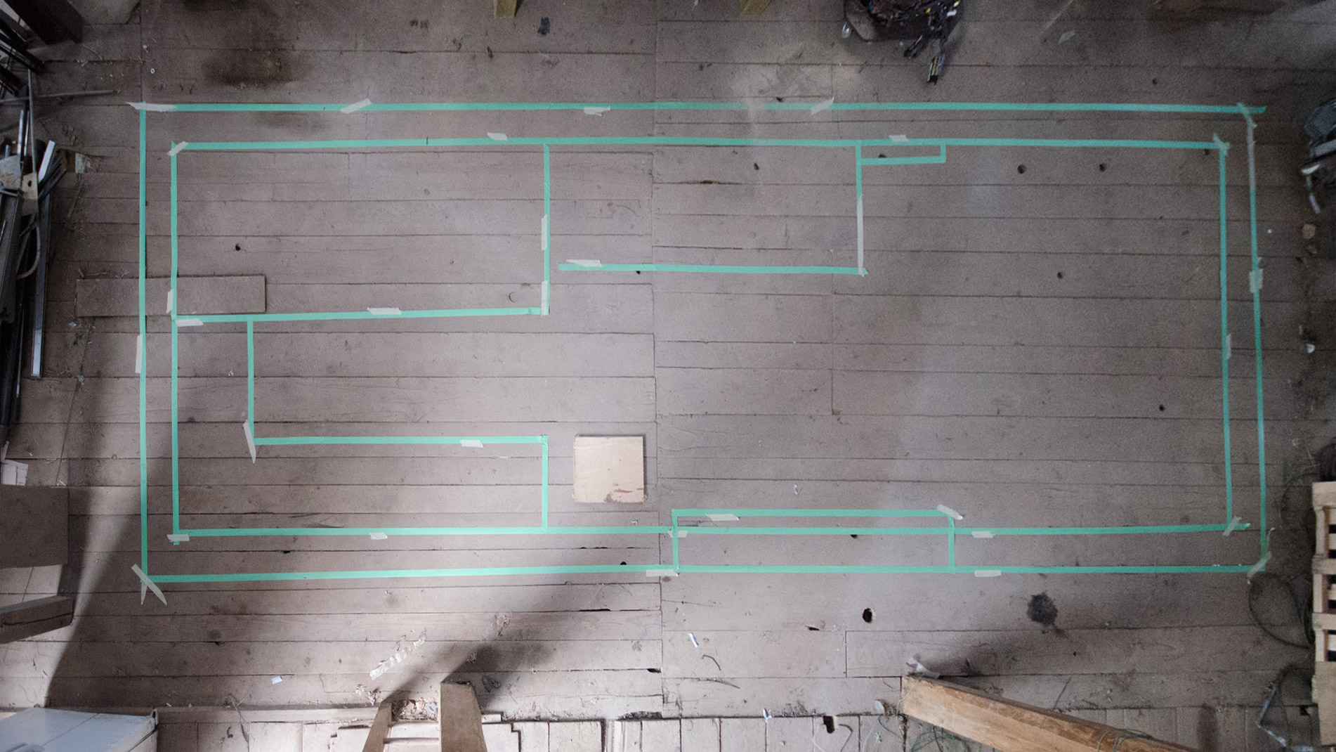 Rough Tape layout of the Tiny Home