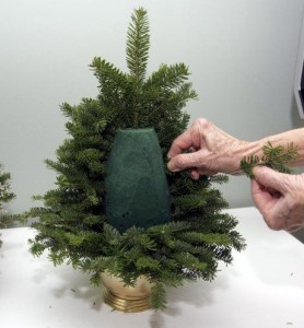 DIY tree from evergreen twigs